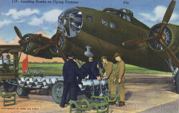 Loading Bombs on Flying Fortress Mac Dill Field Florida