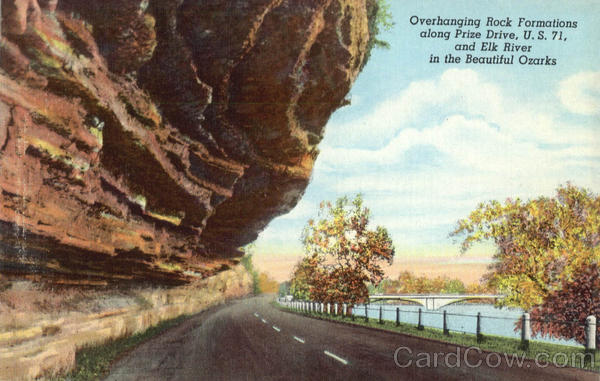 Overhanging Rock Formations along Prize Drive, U.S.71, and Elk River in the Beautiful Ozarks Missouri