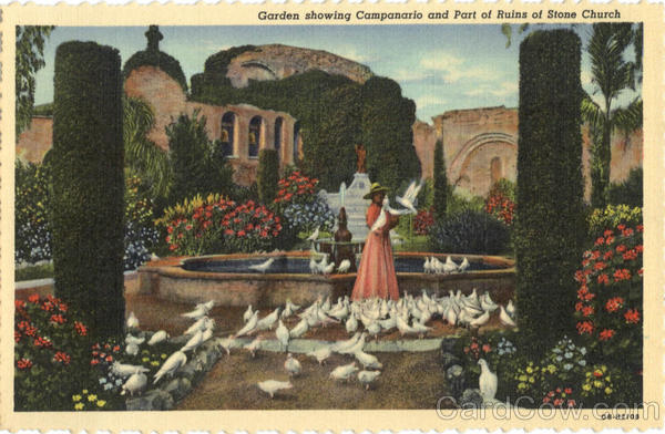 Garden showing Campanario and Part of Ruins of Stone Church Missions California