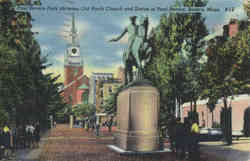 Paul Revere Park Showing Old North Church and Statue of Paul Revere
