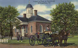 Coach in Front of Courthouse Postcard