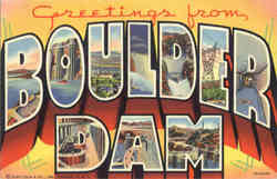 Greetings from Boulder Dam Large Letter Postcard
