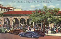 A Busy Day at the Open Air Post Office Postcard