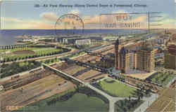 Air View Showing Illinois Central Depot in Foreground