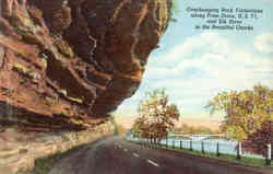Overhanging Rock Formations along Prize Drive, U.S.71, and Elk River in the Beautiful Ozarks Postcard