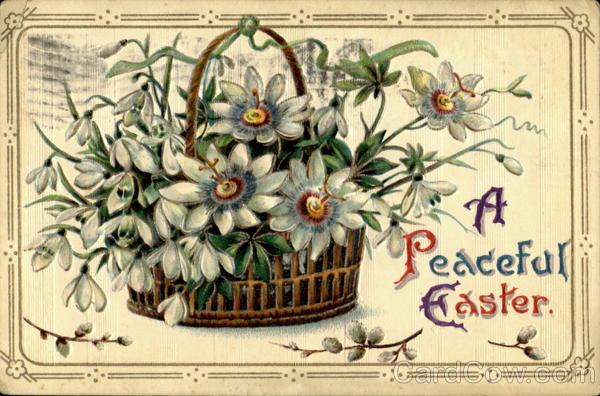 A Peaceful Easter Antique Postcard