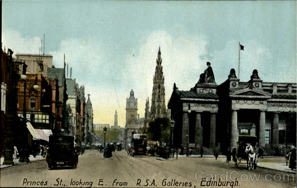 Princes St. Looking E. From R. S. A. Galleries Edinburgh Scotland