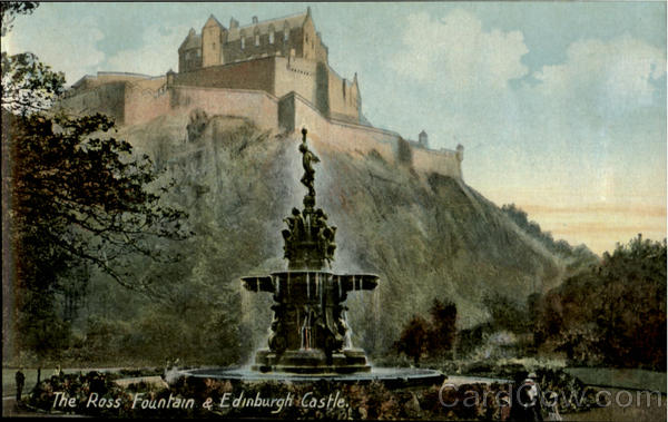 The Rose Fountain & Edinburgh Castle Scotland