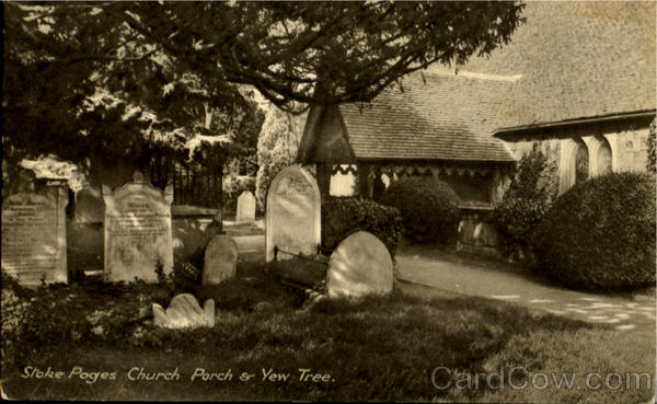 Stoke Pages Church Porch & Yew Tree England