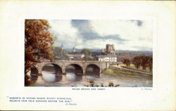 Kelso Bridge And Abbey Postcard
