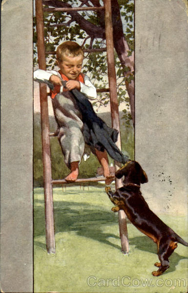 Boy with Dachshund Dogs