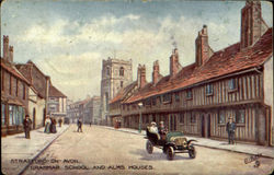 Grammar School And Alms Houses Postcard