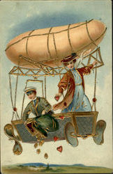Couple Delivering Hearts and Money in an Airship