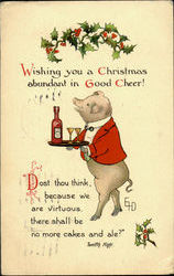Pig with Drinks Postcard