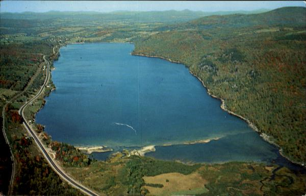 Aerial View Of Beautiful Crystal Lake Scenic Vermont