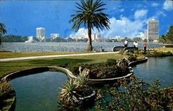 Looking North Across Lake Eola Postcard