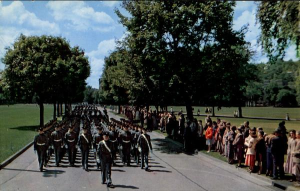 A View Of The Cadet Corps Marching To Trophy Point West Point New York