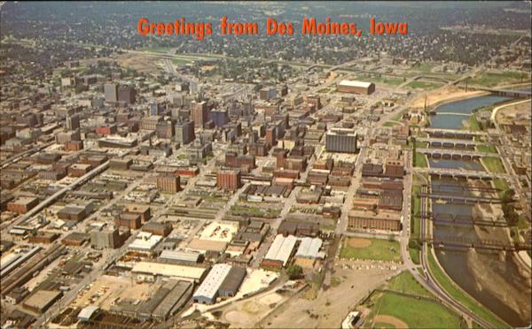 Aerial View Of Des Moines Iowa
