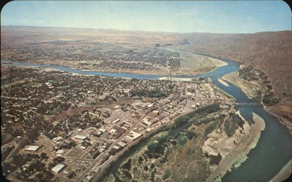 Aerial Of Main Business Section Lewiston Idaho