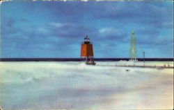 Charlevoix Lighthouse And Piers Postcard