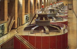 Interior Of The Nevada Wing Of Hoover Dam Power House Postcard