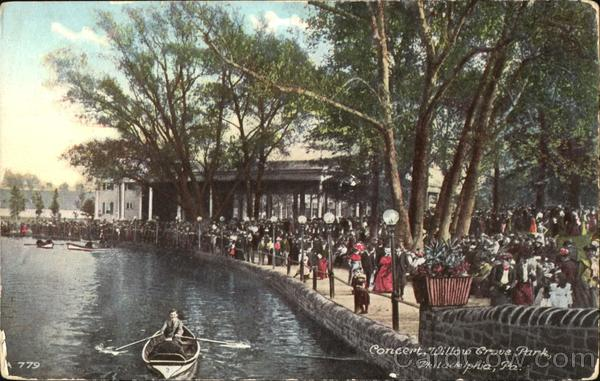 Concert Willow Grove Park Vintage Post Card
