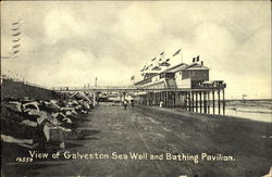 View Of Galveston Sea Wall And Bathing Pavilion