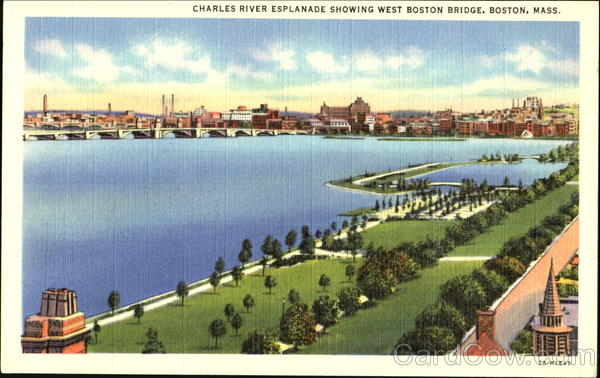 Charles River Esplanade Showing West Boston Bridge Massachusetts