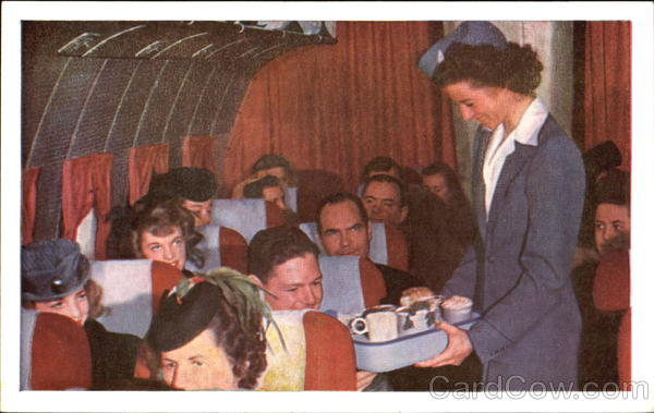 United Stewardess Delicious Full-Course Meals Aircraft