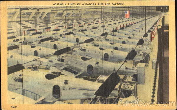 Assembly Lines Of A Kansas Airplane Factory Aircraft