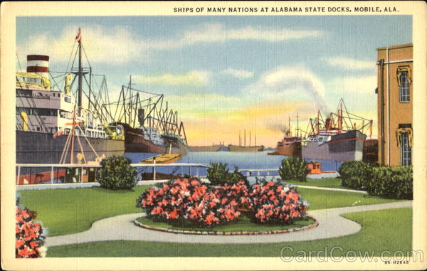 Ships Of Many Nations At Alabama State Docks Mobile