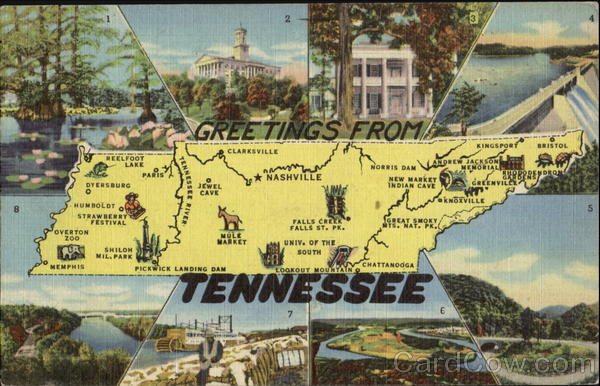 Greetings From Tennessee Map Maps