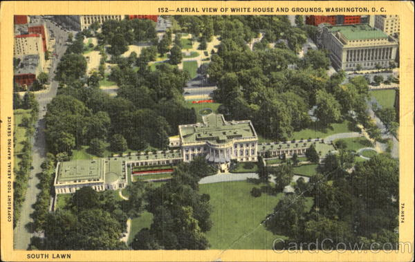 Aerial View Of White House And Grounds Washington District of Columbia