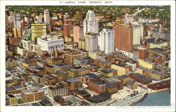 Aerial View Detroit Michigan