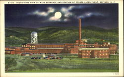 Night-Time View Of Main Entrance And Portion Of Ecusta Paper Plant