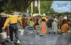 Street Scrubbing At Tulip Time Postcard