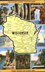 Wisconsin Map Postcard