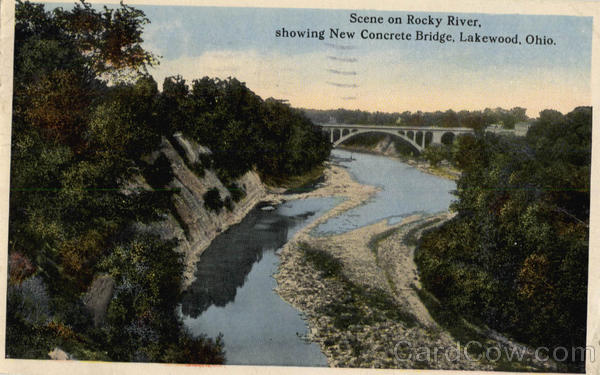 Scene on Rocky River, showing New Concrete Bridge Lakewood Ohio