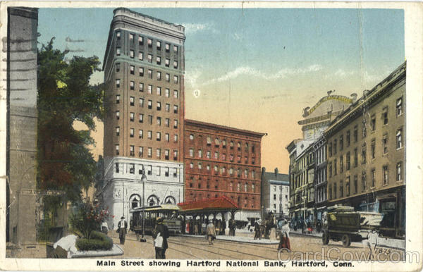 Main Street showing Harfort National Bank Hartford Connecticut