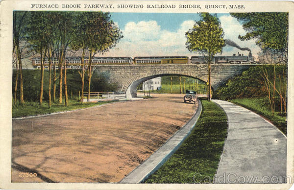 Furnace Brook Parkway Showing Railroad Bridge Quincy Massachusetts