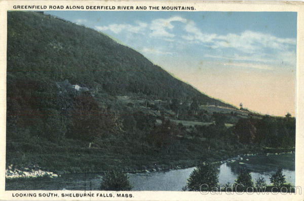 Greenfield Road along Deerfield River and the Mountains. Looking South Shelburne Falls Massachusetts