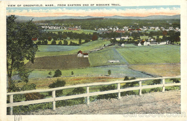 View of Greenfield, Eastern end of Mohawk Trail Massachusetts