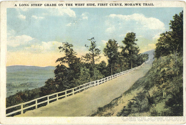 A Long Steep Grade on the West Side, First Curve, Mohawk Trail Massachusetts