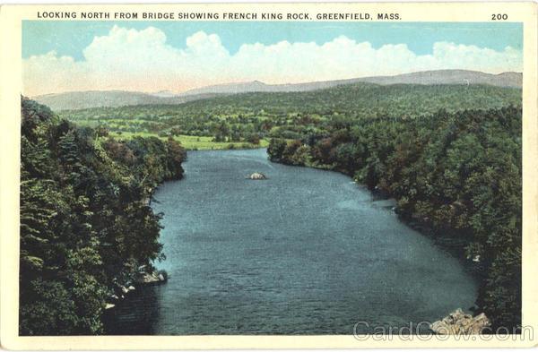 Looking North from Bridge showing French King Rock Greenfield Massachusetts
