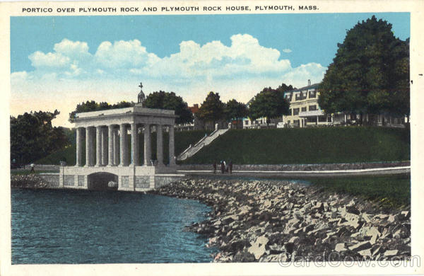 Portico over Plymouth Rock and Plymouth Rock House Massachusetts