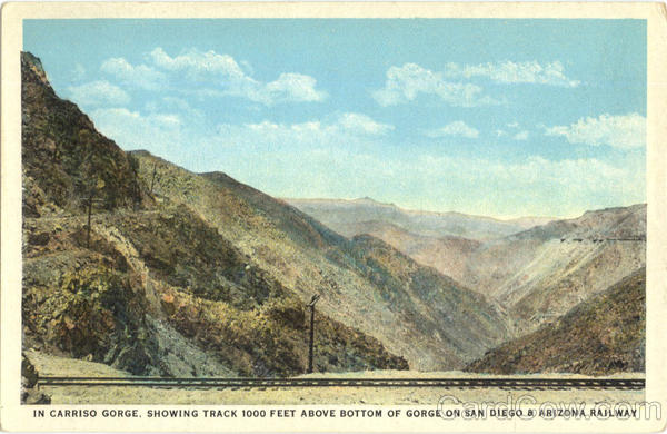 Carriso Gorge, Track 1000 Feet Above Bottom of Gorge on San Diego & Arizona Railway