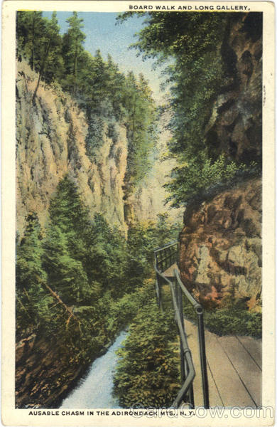 Board Walk And Long Gallery, Ausable Chasm In The Adirondack Mts Adirondack Mountains New York