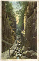 The Flume looking up Franconia Notch Postcard