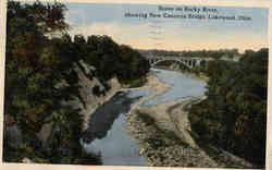 Scene on Rocky River, showing New Concrete Bridge