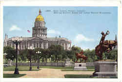 State Capitol, Showing Broncho Buster and Indian Warrior Monuments